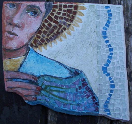 fresco with glass trim